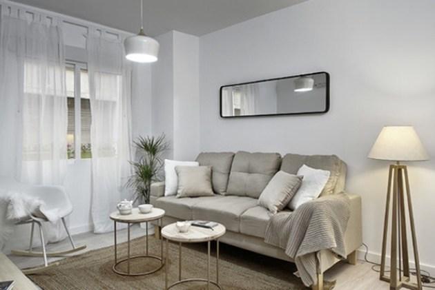 Zarif İskandinav tarzında küçük bir oturma odası