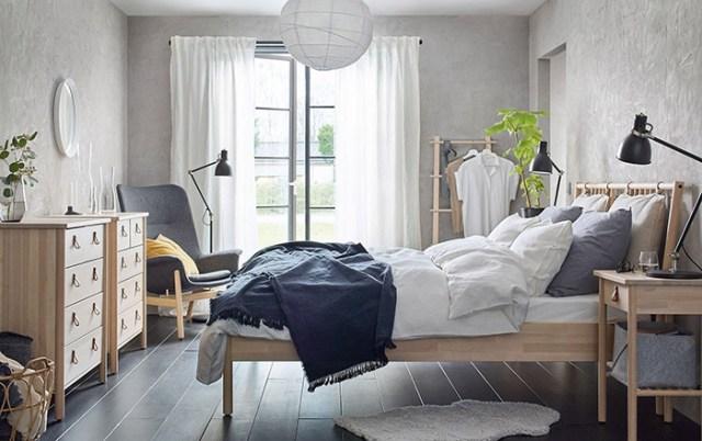 IKEA mobilyalı çift kişilik yatak odası