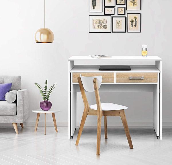 Beyaz ve ahşaptan modern ve ucuz ikisi bir arada çalışma masası