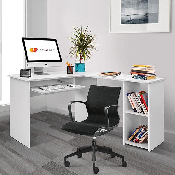 Beyaz, köşe veya köşede düşük maliyetli modern gençlik masası