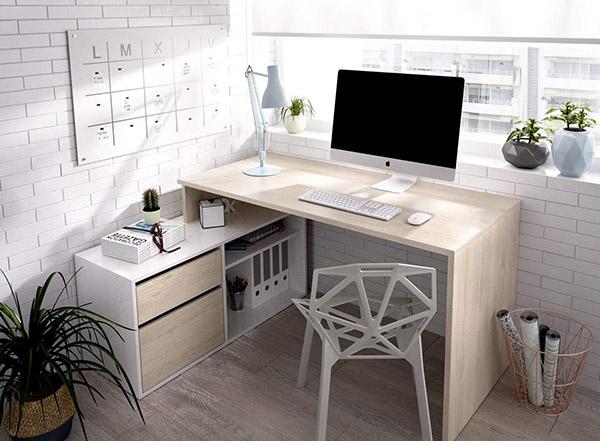 Beyaz ve ahşap köşe veya köşe L, ekonomik modern gençlik masası