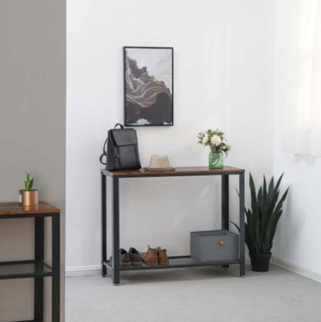 Siyah metal ve ahşap endüstriyel tarz salon mobilyası konsolu