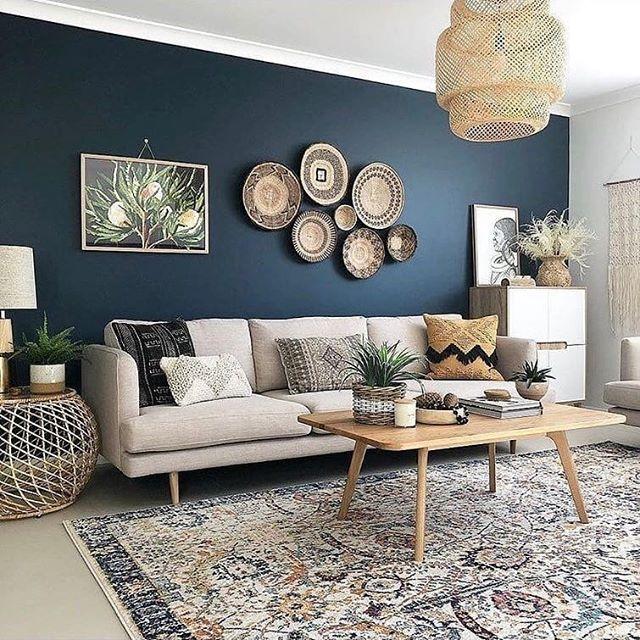 Lacivert oturma odası beyaz mobilya