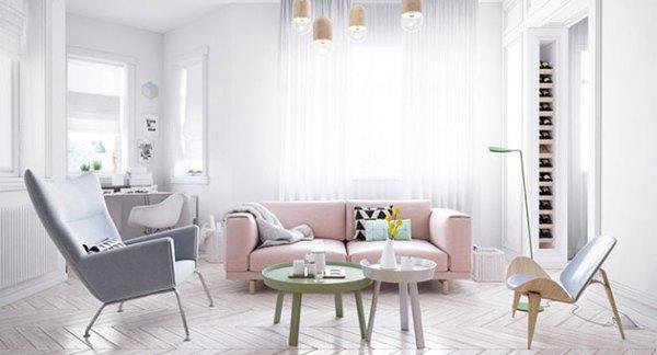 Pastel renklerle dekore edilmiş oturma odası