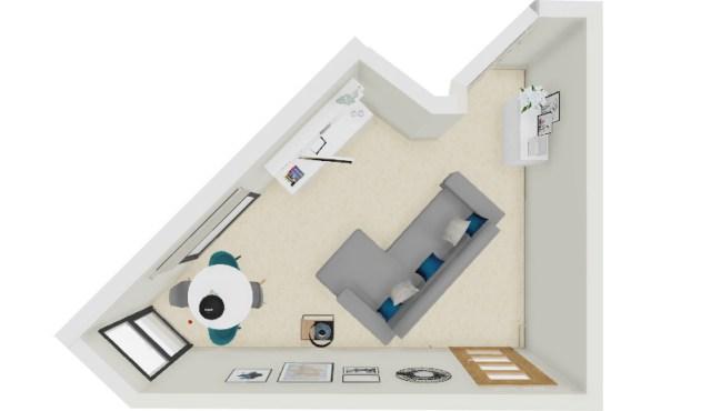 Düzensiz kat planı ile oturma odasında illüstrasyon kanepe