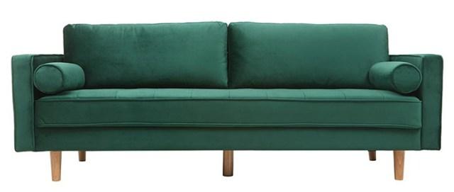 Küçük oturma odaları için yeşil kadife kanepe