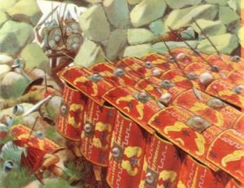 Römische Schildkröten Formation im Kampf