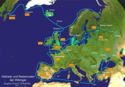 Карта областей и маршрутов поездки викингов