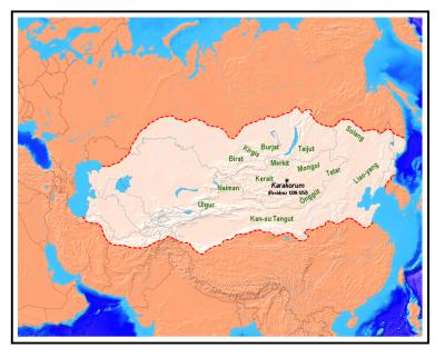 Das mongolische Reich beim Tode Dschingis Khans (1227)