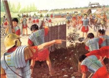 Römische Legionäre beim Bau eines Heerlagers