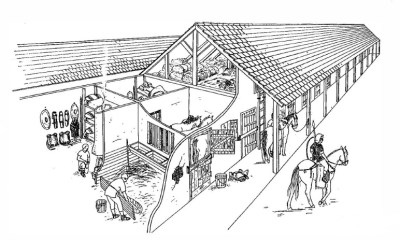 Drawing of an equestrian barrack