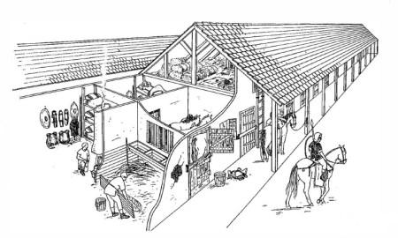 Zeichnung einer Reiterbarracke