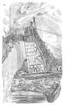 Angriff mit einem Belagerungsturm in einer Darstellung des 19. Jahrhunderts