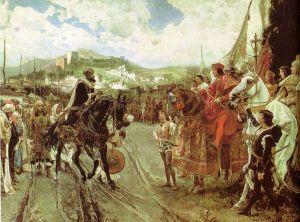 Boabdil将1492格拉纳达传递给西班牙皇室夫妇(1882年的历史绘画)