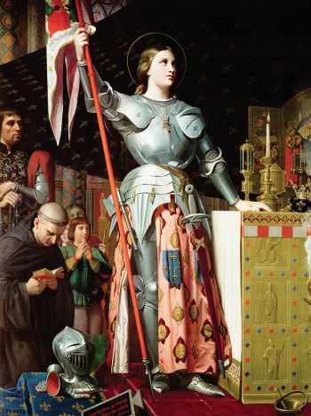 Johanna von Orleans bei der Krönung Karls VII. (Historiengemälde von Dominique Ingres, 1854)