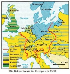 Религиозные признания в Европе в 1580