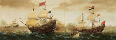 西班牙大帆船的插图(左)