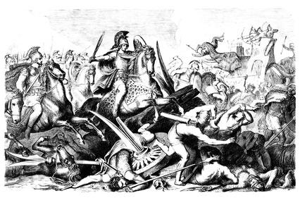 Schlacht zwischen Alexander der Große und den Persern