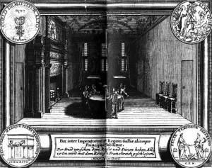 Friedensverhandlungen von Rijswijk 1697 (zeitgenössischer Kupferstich)