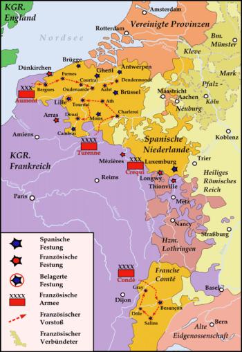 Карта франко-голландской войны