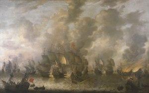 Battaglia del mare vicino a Scheveningen il 10 agosto 1653