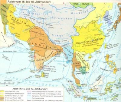 Karte Asien vom 16. bis 18. Jahrhundert
