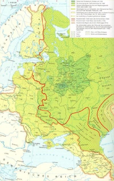 Karte Russlands vom 14. bis 20. Jahrhunderts