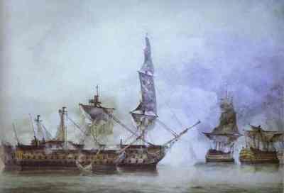 Die Victory im Gefecht mit mehreren französischen Linienschiffen