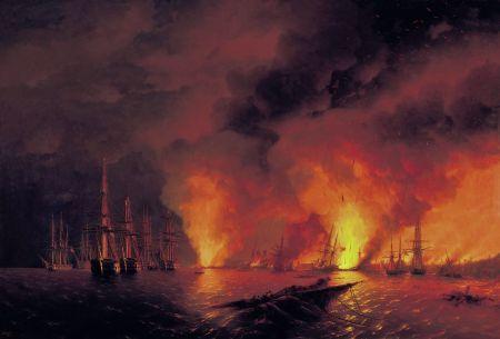 Die russische Flotte zerstört die osmanische in der Seeschlacht bei Sinope. Gemälde von Iwan Aiwasowski