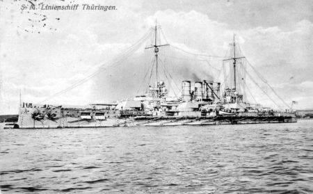 Contemporary postcard of the SMS Thuringia