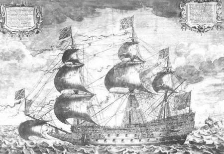 Zeitgenössischer Stich der Sovereign of the Seas von J. Payne