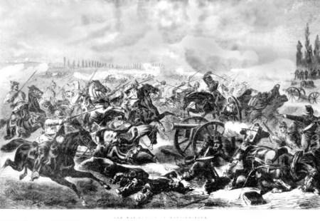 Das preußische 7. Kürassier-Regiment greift die französischen Stellungen in der Schlacht bei Mars-la-Tour am 16. August 1870 an