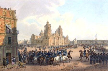 Der Fall von Mexiko-Stadt. Gemälde von Carl Nebel, 1851