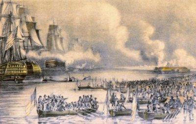 Die Landung bei Veracruz. Gemälde von Nathaniel Currier, 1840er