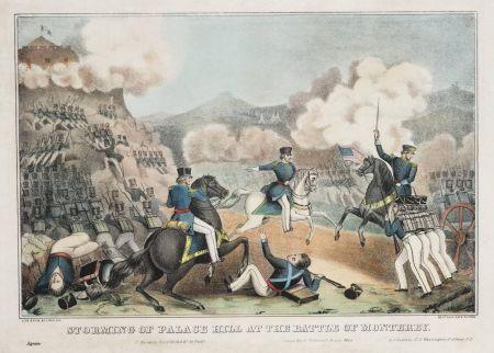 Die Schlacht von Monterrey. Vermutlich ist die Erstürmung des Obispado dargestellt. Lithografie von Tompkins Harrison Matteson, vor 1855