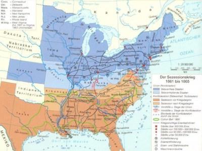 Карта американской гражданской войны