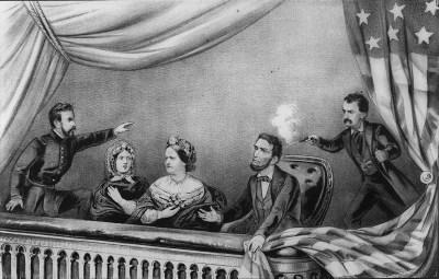 Lithografie des Attentats ca. 1865 von links: Henry Rathbone, Clara Harris, Mary Todd Lincoln, Abraham Lincoln und John Wilkes Booth