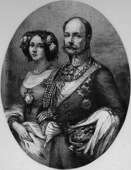Prinz Wilhelm (I.) von Preußen mit seiner Frau Prinzessin Augusta von Sachsen-Weimar-Eisenach, Lithographie um 1830