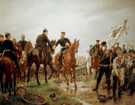 """Schlacht bei Königgrätz, der König überreicht dem Kronprinzen den Orden """"Pour le merite"""", Wandbild von Emil Hünten"""