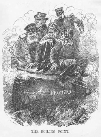 Caricatura contemporánea de Leonard Raven-Hill (1912), que ilustra la situación en los Balcanes en ese momento