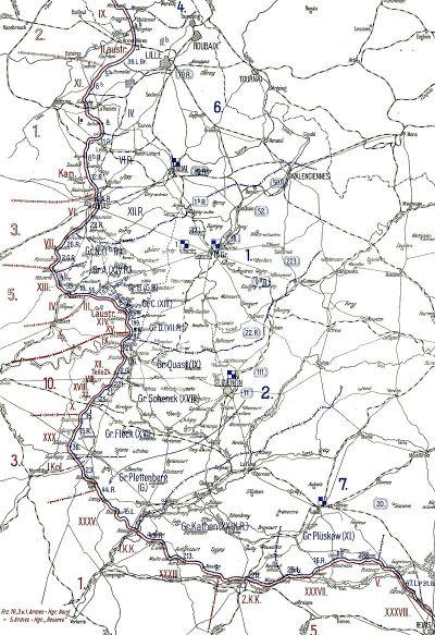 Die Lage am 1. Januar 1917. Die Division 211 (Gruppe Kathen) in den Stellungen an der Aisne