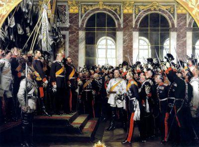 La proclamazione dell'Impero tedesco (18 gennaio 1871) nella Sala degli Specchi del Palazzo di Versailles, dipinto storico di Anton von Werner degli anni ottanta del XIX secolo