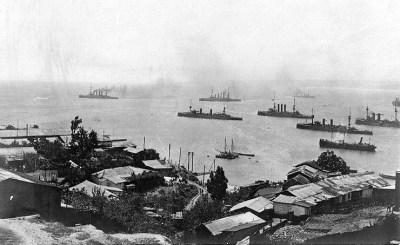 Scharnhorst, Gneisenau e Nürnberg in partenza da Valparaiso, Cile