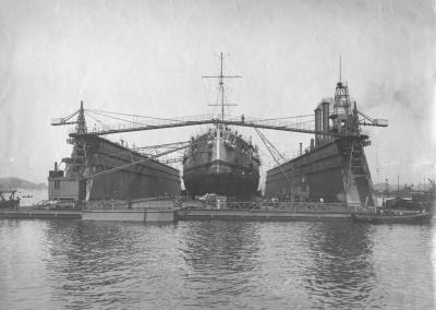 Battleship SMS Helgoland in the dock
