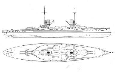 Vista laterale dell'SMS König Albert