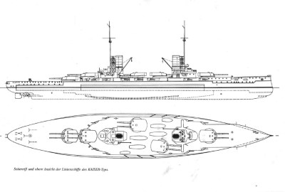 Side view and upper view of the Kaiser ships