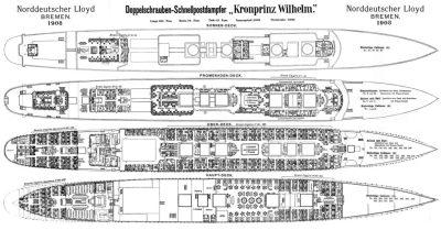 План палуб пассажира I. и II класс из 1908 года