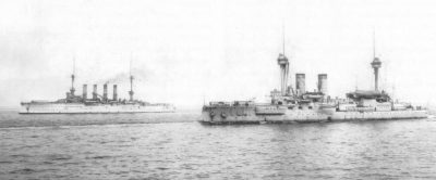 The SMS Brandenburg and the SMS Roon at the end of the autumn manoeuvres 1906. The Roon carries the white tropical coat of paint as emperor's escort ship.