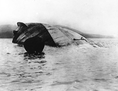 SMS Seydlitz en état submergé dans Scapa Flow