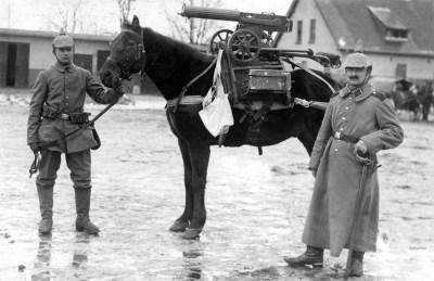 德国士兵和一匹马上装有俄罗斯格言M1910机枪的专用框架